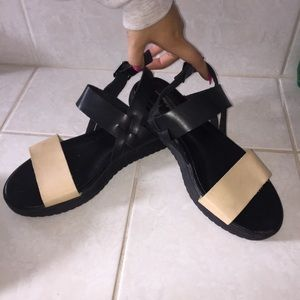Black and Beige Two Tone Forever 21 Sandals